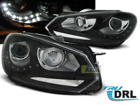 Coppia di Fari Anteriori LED DRL Inside per VW GOLF 6 VI 2008-2012 Daylight Neri
