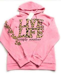"Simply Southern Women's ""Live Life"" Leopard Hoodie Sweatshirt,Pink,Medium*Defect"
