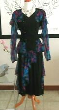 Black & sheer abstract print dinner evening suit Popof vintage 1980s 15-16