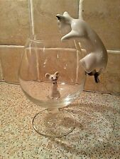 """""L@@K"""" CAT & MOUSE BRANDY GLASS SET *GREAT CHRISTMAS GIFT* WITH # FREE P& P #"