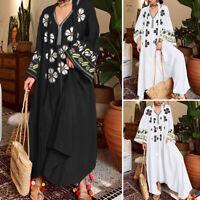 Oversize Femme Loose Col V Manche Longue Floral Plissé Loose Robe Dresse Plus