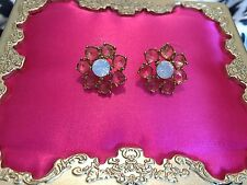 Betsey Johnson Vintage School of Dance Pink Snowflake Winter Opal Stud Earrings
