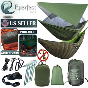 Camping Hammock + Underquilt Cover Warm Blanket + Rainfly Tent Tarp Hanging Bed