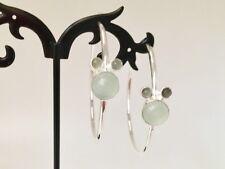 Genuine 925 Sterling Silver 45 mm Hoop Earrings Gemstone Aqua Chalcedony Stones