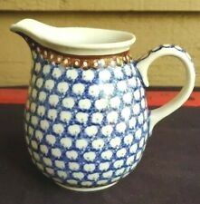 Polish Pottery Vintage Blue & White Cream Syrup Pitcher