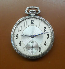 ANTIQUE 1925 SOUTH BEND 19-JEWEL MEN'S POCKET WATCH - WHITE GOLD-PLATED CASE