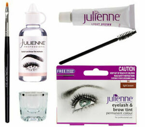 Julienne Eyelash Eyebrow Tinting Kit Dye Brush Tint Dish Permanent Dye L Brown😳