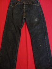 """Levis 501 Mens Jeans Button Fly Black 34x30 ACTUAL INS 28"""" STAINS WORK WEAR"""