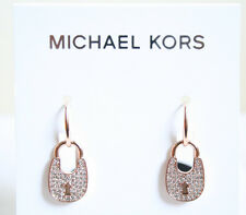 NWT MICHAEL KORS MKJ4891 Rose Gold Tone Heritage Pave Padlock Drop Earrings