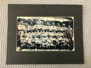 Matted Sepia Photo Reproduction 1915 Boston Red Sox Team w/ Babe Ruth