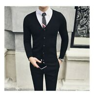Mens Cardigan Sweater Knitted Jacket V neck Business Tops Casual Single Breasted