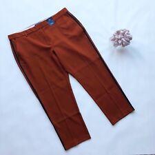 M&S Ladies Cinnamon Brown Sport Luxe Stripe Straight Trousers UK20 Smart Work