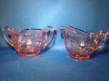 Depression Glass Pink Creamer & Sugar Set Etched Optic Glass @9