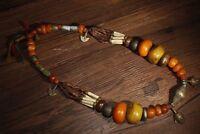 China Antique Tibetan Buddhist beast bone beeswax gemstone necklace