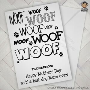Funny CARD from the dog pet DOGGIE LOVER MOTHERS DAY for the dog parent fur baby