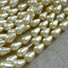 Strand of 50 Glass Pearl Teardrop Beads 12x7mm Cream