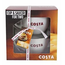 Costa Coffee Ceramic Cup & Saucer Set For Two Gift Boxed Free Tracked Postage