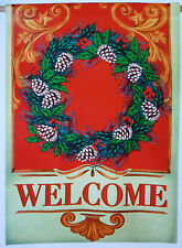"""Large Celebrate It """"Welcome"""" Wreath Christmas Porch Art Flag (28"""" x 40"""")"""
