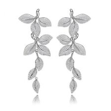 S6 Made Using Swarovski Crystals The Mirah Long Silver Pave Leaf Earrings $120