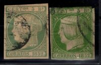P130448/ SPAIN STAMP / Y&T # 15 (2 VARIOUS SHADES) USED CV 300 $