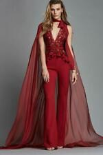 NWT Zuhair Murad Red Silk Beaded Flounce Sleeveless Jumpsuit Size 38