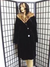 SCRAP ITEM:BLACK SHEARED RABBIT FUR COAT JACKET W/ MINK WOMEN WOMAN ARTS & CRAFT