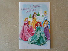 "Disney Princess Glitter Christmas Card By American Greetings~7 1/4"" X 4 3/4""~NEW"