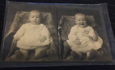 Vintage RPPC Photo Postcard Child Baby Before & After Serious To Laughing Trick