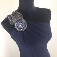 David Meister Navy Blue Sleeveless One Shoulder Embellished Neck Dress Womens 2