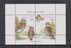 Turkey - 1998, World Environment Day, Owls, Birds sheet - MNH - SG MS3347