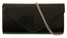 Shiny Oversized Patent Faux Leather Clutch Bag Embossed V Shape Evening Party
