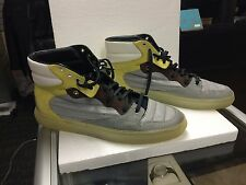 Balenciaga Nylon Leather High Top Yellow Gray Sneaker Shoes (Size 12) 258528