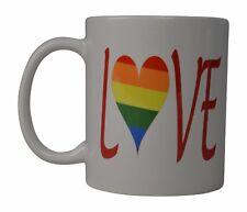 Best Coffee Mug Tea Cup Gift Gay Lesbian Rainbow LGBT Pride Love Heart