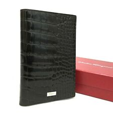 Authentic Salvatore Ferragamo Crocodile Leather Passeport Case Brown /3195