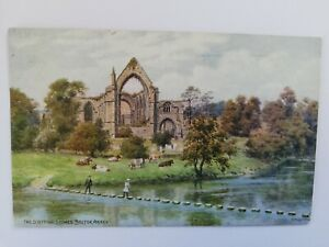 POSTCARD SALMON A R QUINTON  1473 THE STEPPING STONES BOLTON ABBEY YORKSHIRE