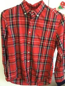Boys Crewcuts button down shirt, red holiday plaid, size 14