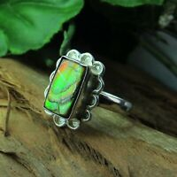 Natural Ammolite Green Fire Cabochon 925 Sterling Silver Designer Women Ring