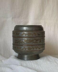 ANTIQUE CHINESE QING 19TH C PEWTER BRASS INCENSE TACKED LIDDED BOX JAR CONTAINER