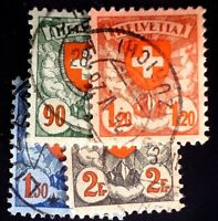 CatalinaStamps: Switzerland Stamp #200-03 Used Lot of 4, SCV=$21.25, #A150