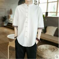mens casual short sleeve summer shirts cotton and linen loose fit Chinese ycrt