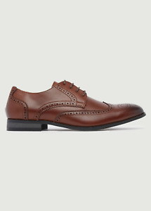 Peter Werth New Mens Harrison Round Toe Brogue Shoes - Tan