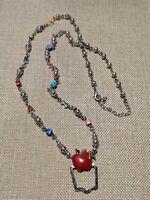 Silver Tone Teacher Apple ABC Bead Lanyard Necklace