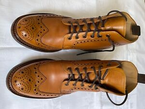 Loake Bedale Leder Boots rahmengenäht Brogues/ Budapester hellbraun Gr. 9 (43,5)
