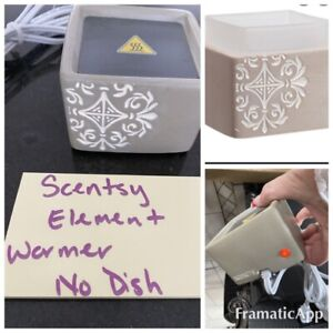 Scentsy FITZGERALD grey Element WARMER & FREE WAX! matte taupe