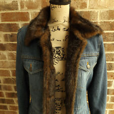 Marvin Richards Denim Jacket Mink Faux Fur Lined Trim Jean Hip Length Coat M