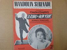 """Foglio CANZONE Mandolino Serenade """"UN RE A NEW YORK"""" Charles Chaplin, DAWN ADDAMS"""