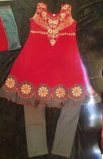 "26"" Age 4-5 Kids Bollywood Salwar Kameez Indian Girls Dress Red Grey Gold Cotton"