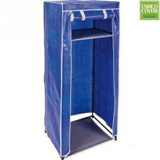 Armadio Cabina Guardaroba Appendiabiti in Acciaio e Tessuto Coveri Colore Blu
