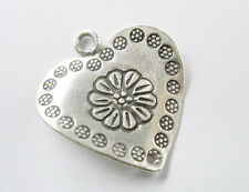 Karen Hill Tribe Silver Engraved Curve  Heart Charm, Connector 23mm.