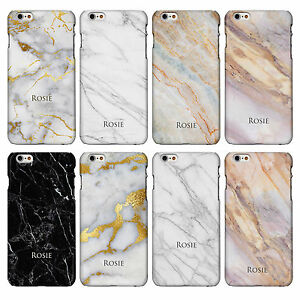 Personalised Name or Initials on Marble Effect Phone Case Cover for iPhone Range